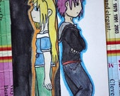 Original Manga ACEO: 'Ashley and Ryou - From Darkness to Light, from Light to Darkness'