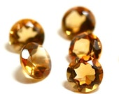 5mm Golden Citrine 4 Pieces Faceted Gemstone 5 mm Round Cut AAA Semi-Precious Gems Loose Stones 1277S - 4 Pieces