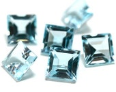 5mm Sky Blue Topaz 6 Pieces Faceted Gemstone 5 mm Square Cut AAA Loose Stones 1264S - 6 Pieces
