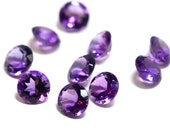 4mm Amethyst 6 Pieces Faceted Gemstone AAA 4 mm Round Cut Semi-Precious Loose Stone Gem February Birthstone 4S - 6 Pieces