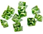 4mm Peridot 6 Pieces Faceted Gemstone Princess Cut Square Semi-Precious Wholesale Loose Stone Natural Gem 2451S - 6 Pieces