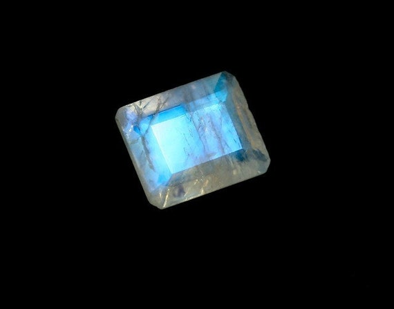 Large Rainbow Moonstone Gemstone 10 x 8 mm Emerald Cut Top Grade Loose Stone Gem June Birthstone 2887S