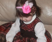 Hot Pink Brown Boutique Double Flowers Pink Lace bow on Elastic Headband Photo prop - Many sizes available