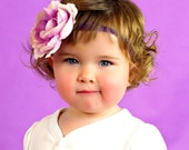 SALE Purple Lavender Boutique Flower Rose on Elastic Headband Photo Prop- Many sizes available