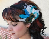 Bridal White and Turquoise Blue Goose Feather with Natural peacock Feather Boutique Hair Clip Fascinator Photp Prop