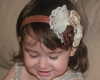Ivory, brown  and Tan Boutique Triple Flower Roses with pearl and lace on Elastic Headband Photo Prop - Many Sizes Available
