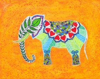 Elephant painting, nursery elephant print, Indian elephant art print, orange yellow elephant print, indian design, Valentine's day gift idea