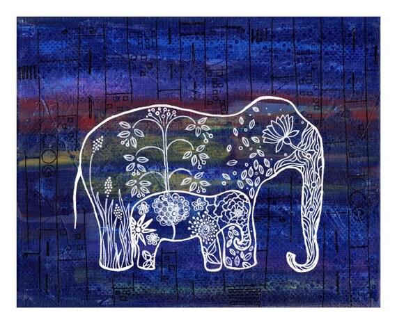 mom and baby elephant, Elephant painting, nursery elephant print, Elephants in the City - India Inspired Exotic Art Print