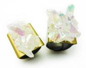 Angel Opal Aura Quartz Rainbow Crystal Druzy Ring DUO