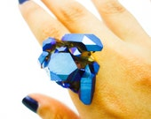 Cobalt Blue Druzy Ring Titanium Quartz Rainbow Crystal Aura Cluster