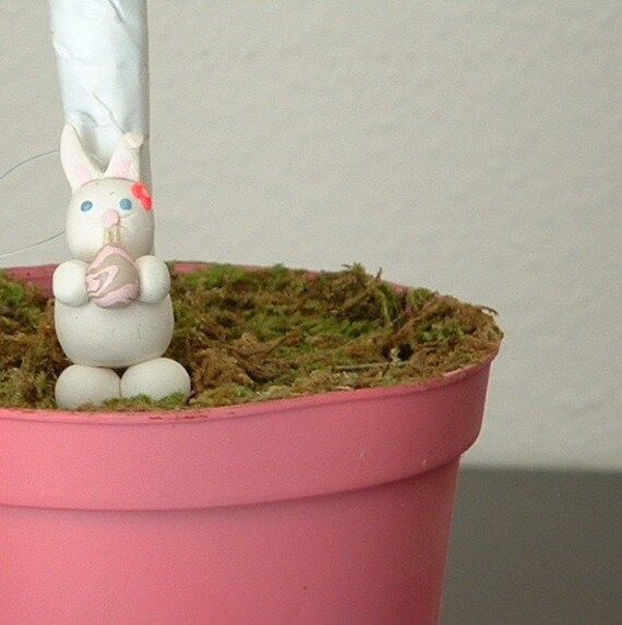 Easter Bunny Polymer Clay Ornament for Spring
