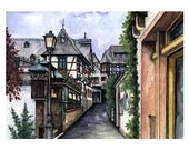 Ruedesheim Germany - Fine Art Print from the German Watercolor Artist Tina Janson