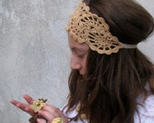 HAIRBAND - Crochet Headband -  Summer  Hair Fashion Accessories - handcrochet headband in beige  color