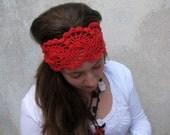 Crochet Headband- Spring Summer Hair Fashion Accessories - handcrochet headband in red  color