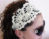 HeadBand- Crochet Headband-   Hair Fashion Accessories - handcrochet headband in Ivory Color