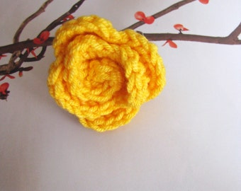Spring Flower Crocheted Ring in Canary Yellow