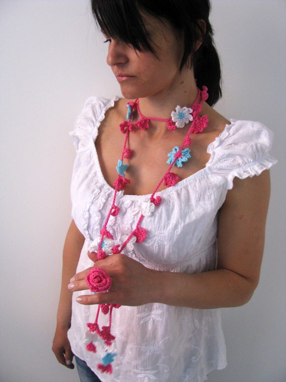 Crochet Flower Lariat Necklace Scarf