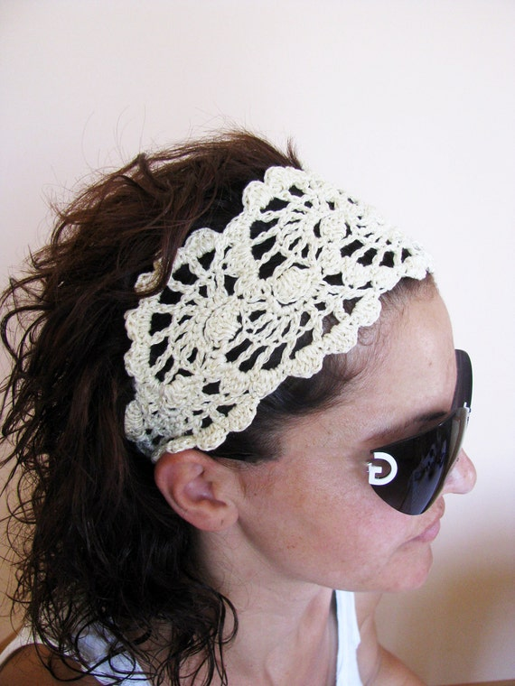 Summer Head Band - Crochet Headband-   Hair Fashion Accessories - handcrochet headband in Ivory Color