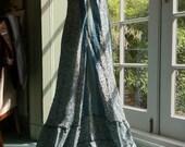 Vintage silk Blue flowers Gypsy Ruffle Maxi Dress