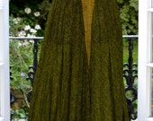 Gold and Green silk maxi dress-gown with gypsy ruffles