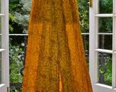 Golden yellow Vintage Silk maxi maxi dress with gypsy ruffles