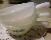 Fire King set of 3 handled soup bowls