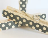 LAST SET.....Black and Cream Polka Dot Decorated Clothes Pins MAgnets- Set of 3