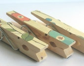 SALE...........Orange and Teal Floral Decorated Clothes Pins MAgnets- Set of 3