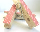 Pink and White Polka Dot Decorated Clothes Pins MAgnets- Set of 3