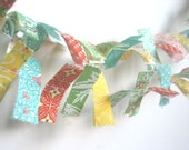 Spring Fresh - A Beautiful Fabric Scrap Bunting / Garland / Photo Prop / Nursery Decor / Party Decor in yellows, aquas and greens