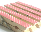 Polka Dot - Set of 5 Pink and White Decorated Clothes Pins / Clips / Pegs / Bookmarks