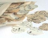 Wedding Day Confetti - Romantic Paper Heart Confetti - Vintage Music Sheet -Approx 250