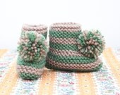 Striped Pompom Bootie: CAPPUCCINO & SAGE GREEN