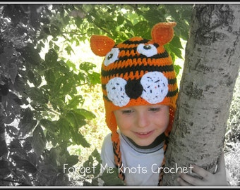 Tiger Earflap Beanie Hat
