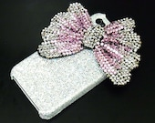 Bling Iphone 4 Bow Case, iphone 4G Crystal Case, iphone 4S Case, iphone 4 Case Cover PS