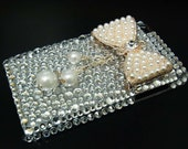 Bling Crystal Rhinestones Silver Pearl Bow Ribbon Back Case Cover for Apple iPod Touch 4G 4 Gen BP