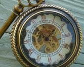 Steampunk MECHANIC  MAN pocket watch key Necklace locket Victorian locket pendant charm