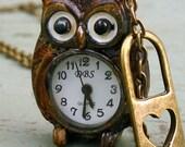 Steampunk Victorian pocket watch necklace pendant charm Cute OWL - HEART lock pocket watch Necklace----RUSTY style
