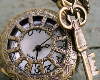 Steampunk  pocket watch Necklace key pirate Victorian locket pendant charm TINY SKELETON KEY Necklace