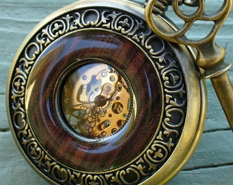 SALE ----  Steampunk  Jules Verne pocket watch key NECKLACE Victorian locket pendant charm