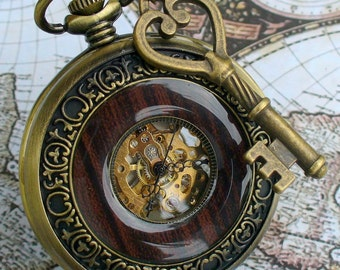 SALE ----  Steampunk  Jules Verne pocket watch key NECKLACE Victorian locket pendant charm