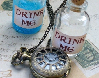 Alice in Wonderland Steampunk pocket WATCH necklace pendant charm locket  DRINK ME  -- never late for your T E A