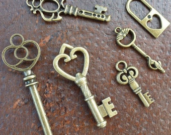 Wholesale Lot 6pcs Steampunk Victorian wholesale antique bronze skeleton key pendant charm necklace Alice in Wonderland 15 jewelry
