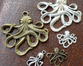 Wholesale Steampunk nautical Marine Octopus  antique pendant charm necklace 25 jewelry