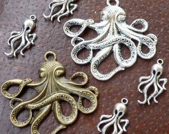 Wholesale Steampunk nautical Marine Octopus  antique pendant charm necklace 30 jewelry
