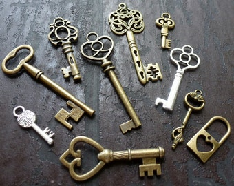 Wholesale Lot 10pcs Steampunk Victorian wholesale antique bronze skeleton key pendant charm necklace Alice in Wonderland 50 jewelry