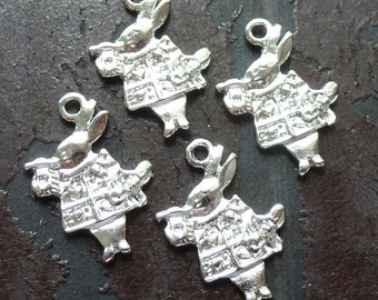 Wholesale Lot 4pcs Steampunk Alice in Wonderland necklace pendant charm rabbit tea time party  55 antique silver jewelry