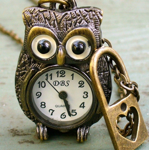 Steampunk Victorian pocket watch necklace pendant charm Cute OWL- HEART lock Necklace pocket watch