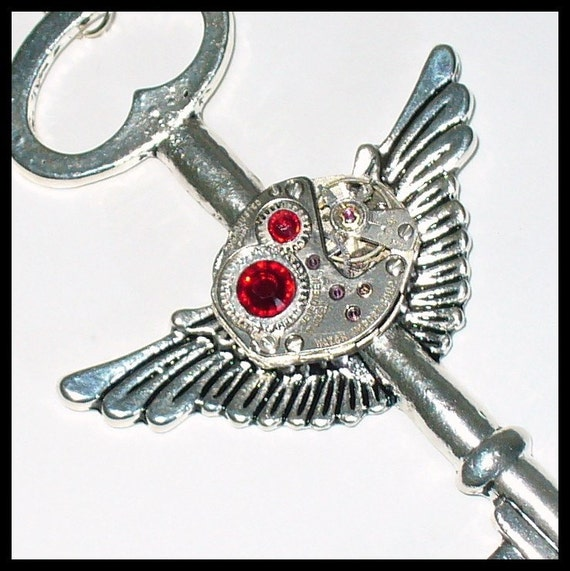 Steampunk ENCHANTED pendant  NECKLACE -- decorated with real SWAROVSKI crystals----S-A-L-E