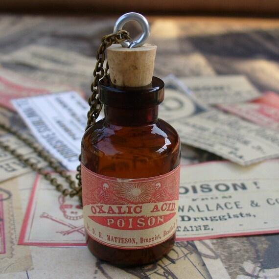 Steampunk Victorian goth Wicca witch wizard flask bottle pendant charm necklace POISON  Victorian Alice in Wonderland--MINI shot bottle